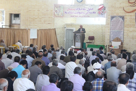 آقای حاجی در جمع پر شور نماز گزاران کمشچه