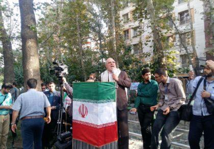 فیلم -سخنان انقلابی آقای حاجی در مقابل دفتر سازمان ملل در تهران